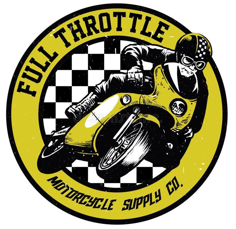 Crachá da motocicleta do vintage ilustração stock