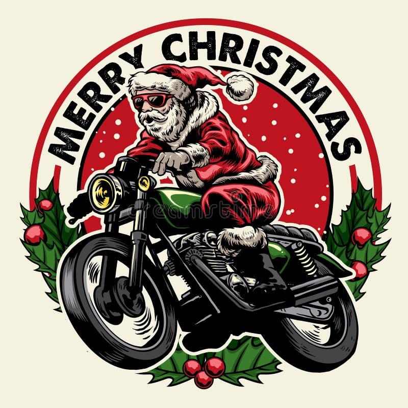 Crachá da motocicleta da equitação de Papai Noel ilustração stock