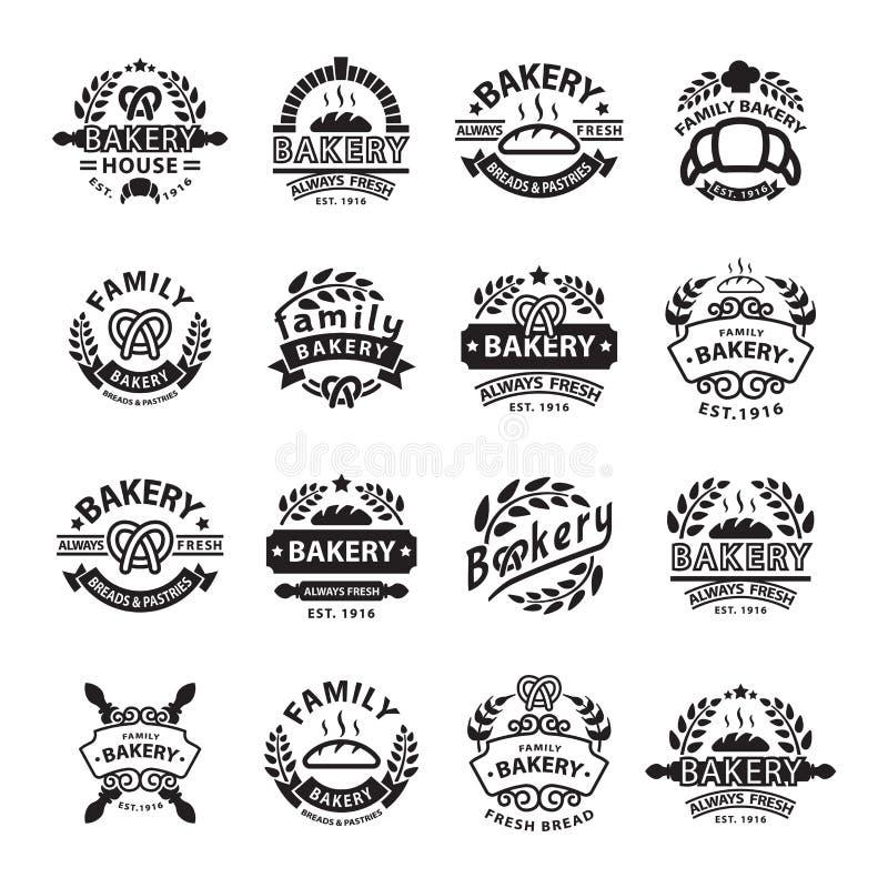 Crachá da padaria e ícone do logotipo ilustração do vetor