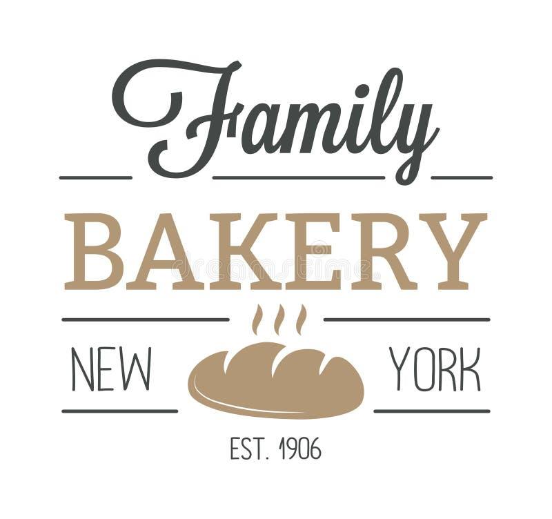 Crachá da padaria e vetor moderno do estilo do ícone do logotipo do pão ilustração royalty free