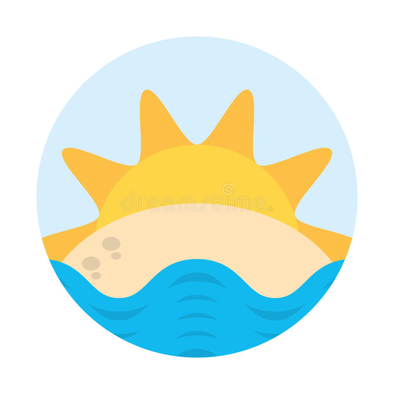 Crachá da praia do mar da areia de Sun ilustração royalty free