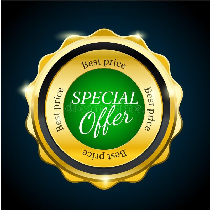 Crachá da venda da oferta especial do prêmio do ouro Elemento verde do projeto ilustração do vetor