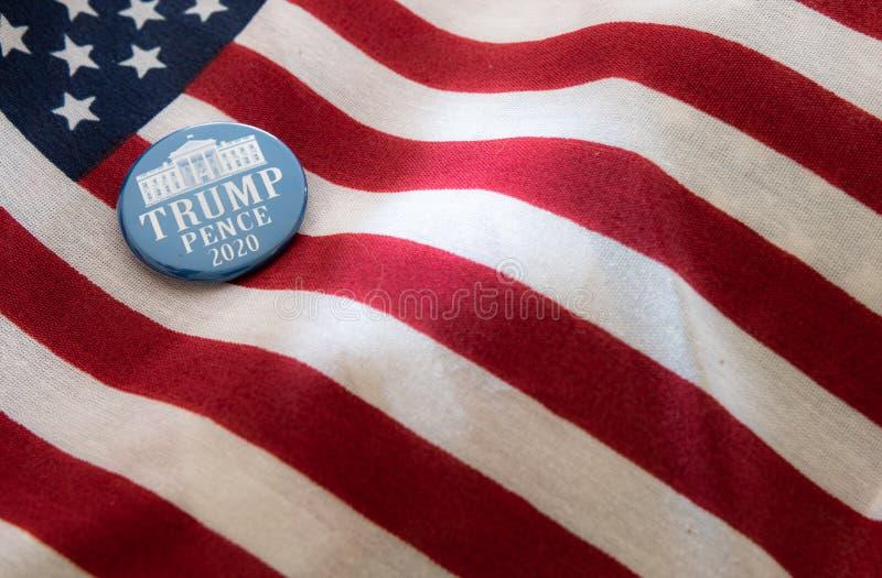 Crachá de campanha das Trunfo-moedas de um centavo 2020 contra bandeiras do Estados Unidos ilustração do vetor