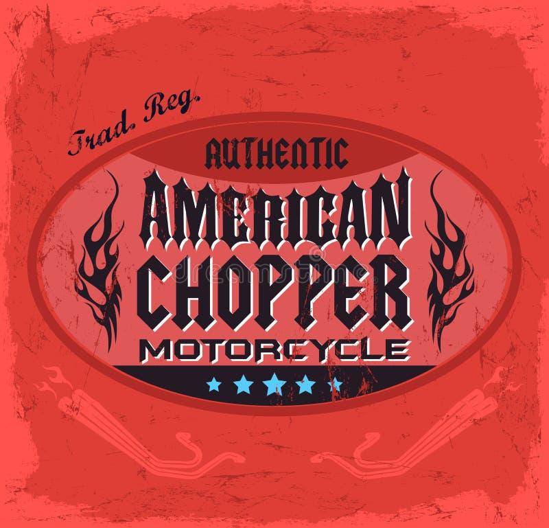 Crachá de Chopper Motorcycle do americano ilustração royalty free