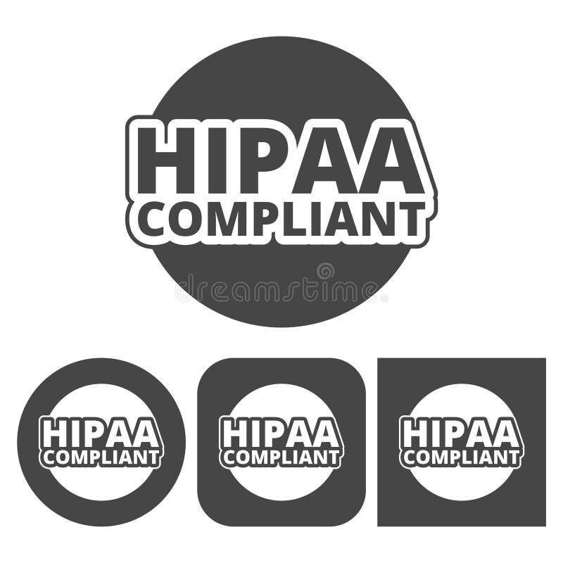 Crachá de HIPAA, mobilidade do seguro de saúde e ato da responsabilidade - ícones do vetor ajustados ilustração do vetor