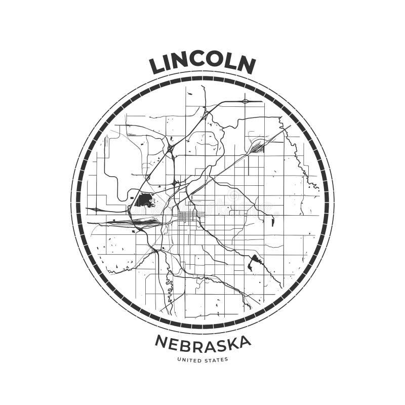 Crachá de Lincoln, Nebraska do mapa do t-shirt ilustração do vetor