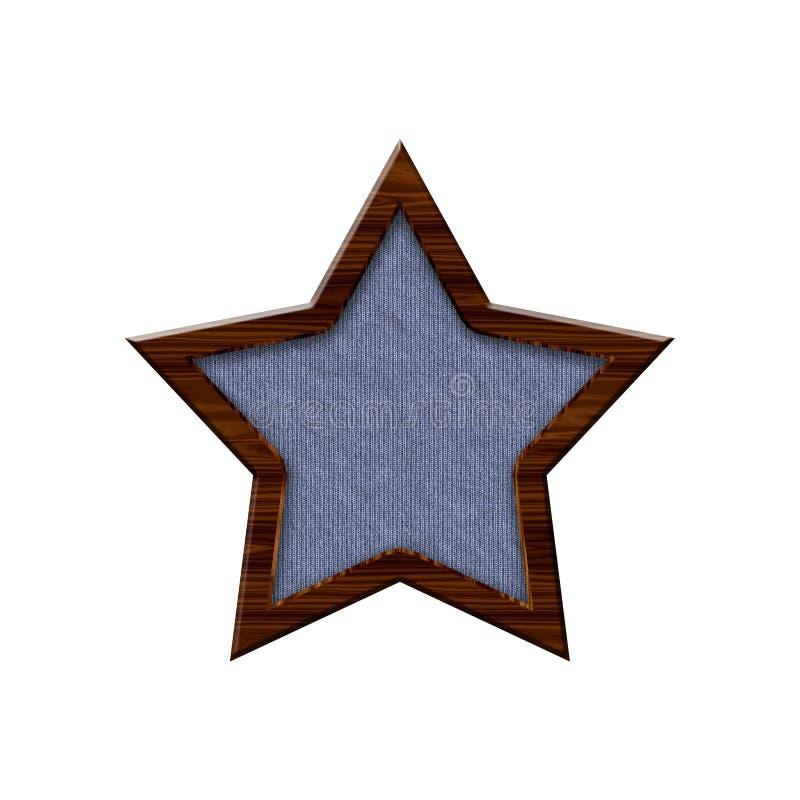 Crachá de pano com beira de madeira no formulário da estrela ilustração royalty free