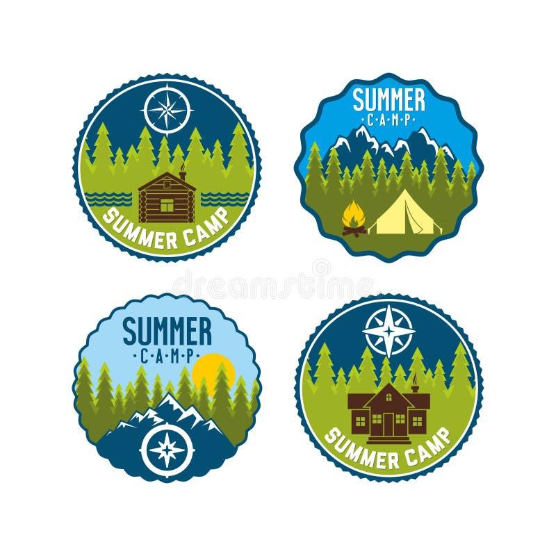 Crachá do acampamento de verão Grupo do logotipo do acampamento ilustração do vetor