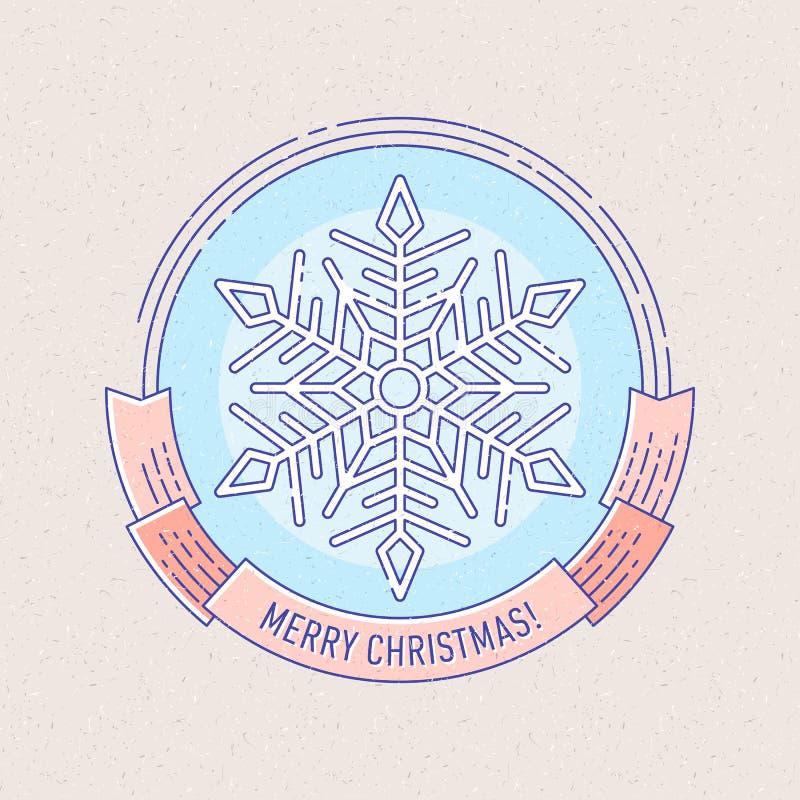 Crachá do ano novo e do Natal com floco de neve ilustração stock