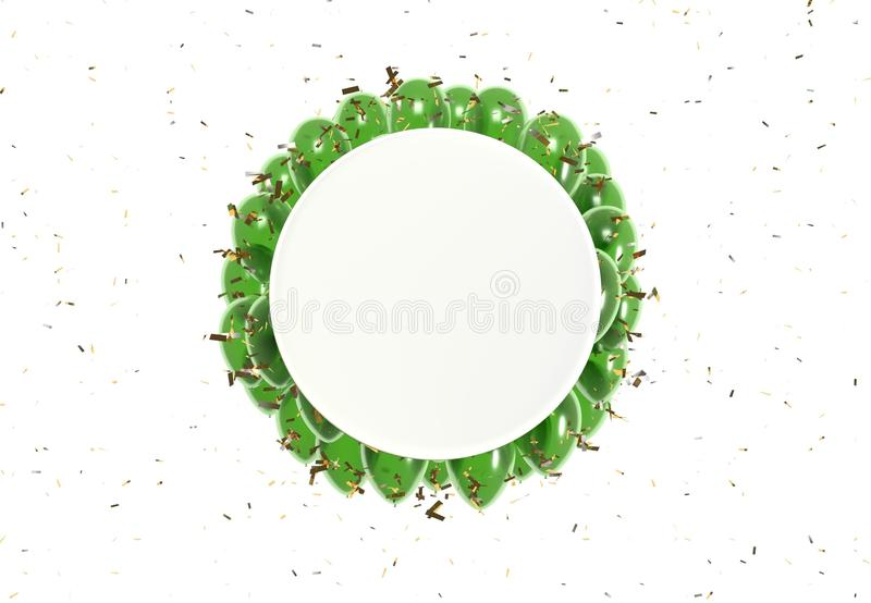 Crachá do círculo e balões verdes ilustração do vetor