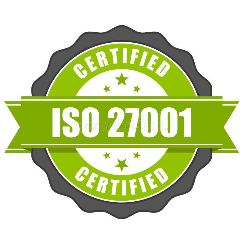 Crachá do certificado do padrão de ISO 27001 - mana da segurança da informação ilustração stock