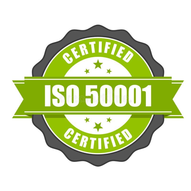 Crachá do certificado do padrão do ISO 50001 - gestão de energia ilustração stock