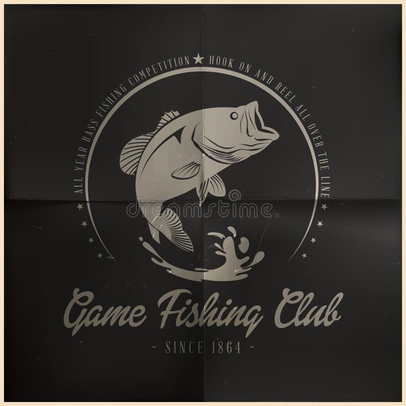 Crachá do clube da pesca de jogo ilustração stock