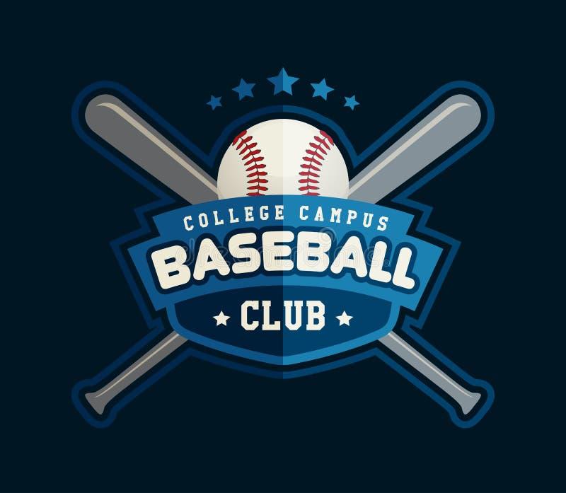 Crachá do clube de basebol, molde do logotipo do esporte ilustração royalty free