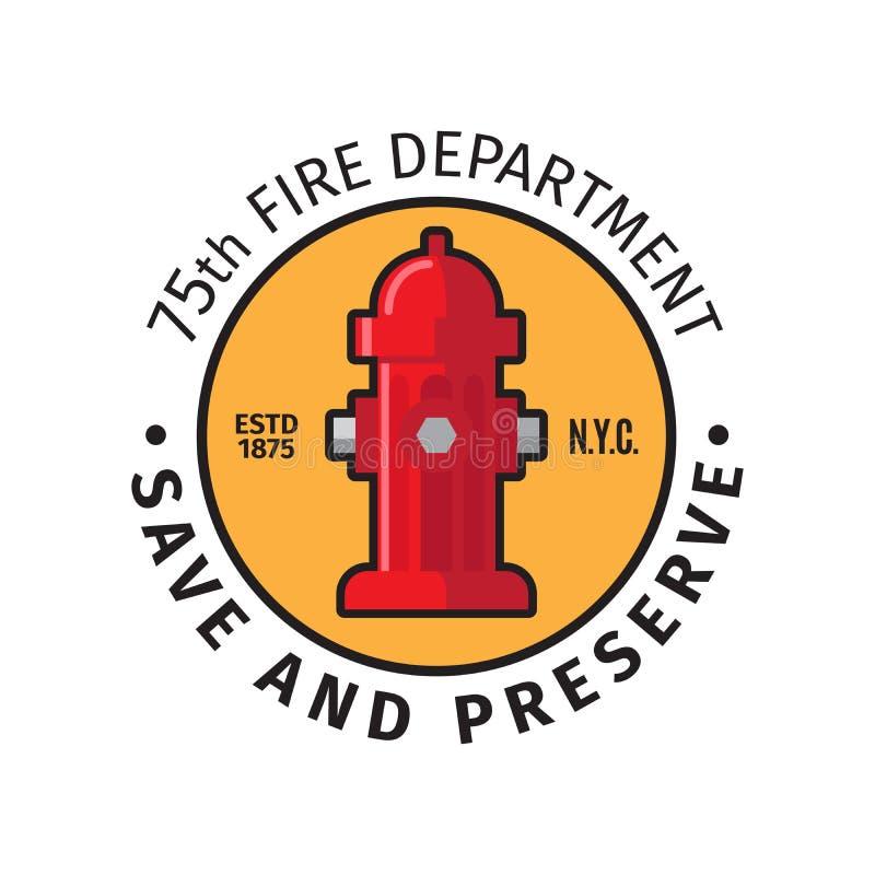 Crachá do departamento dos bombeiros ilustração do vetor