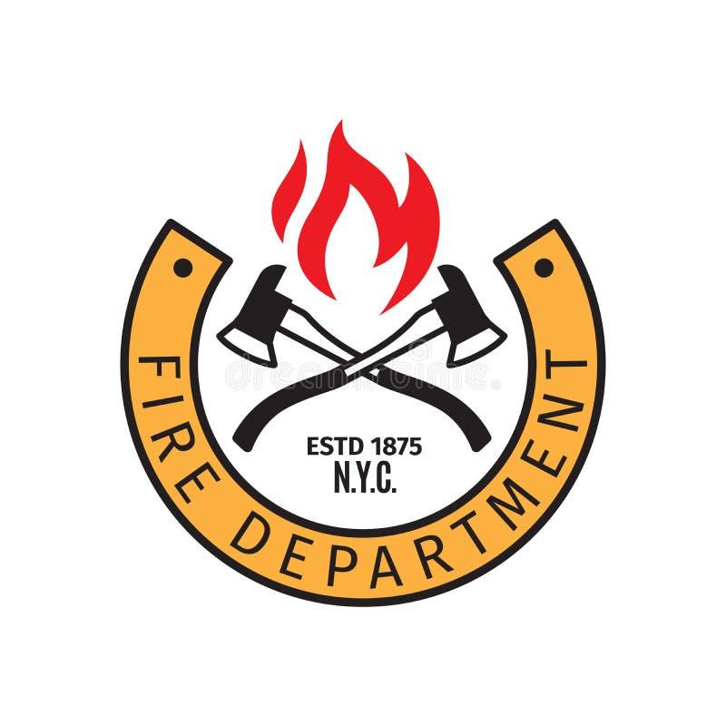 Crachá do departamento dos bombeiros com machados ilustração royalty free