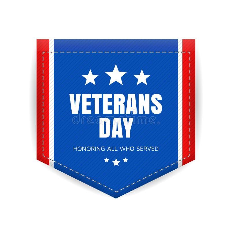 Crachá do dia de veteranos ilustração royalty free