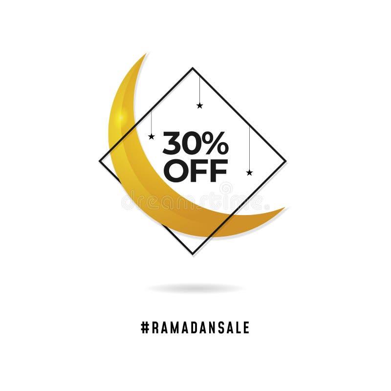 Crachá do logotipo da venda da ramadã ilustração crescente do vetor da lua com quadro do diamante e 30% fora do texto para a prom ilustração stock