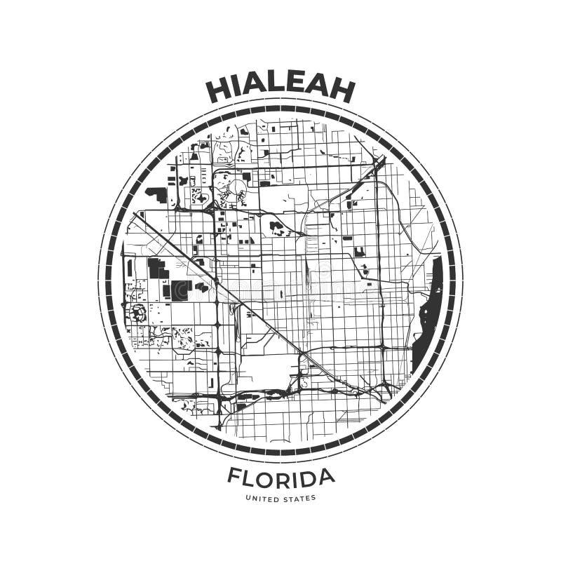 Crachá do mapa do t-shirt de Hialeah, Florida ilustração do vetor
