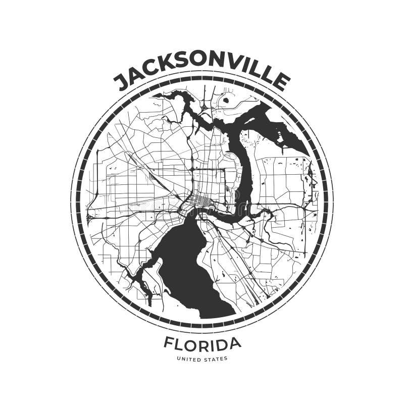 Crachá do mapa do t-shirt de Jacksonville, Florida ilustração do vetor
