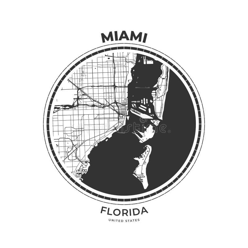 Crachá do mapa do t-shirt de Miami, Florida ilustração royalty free