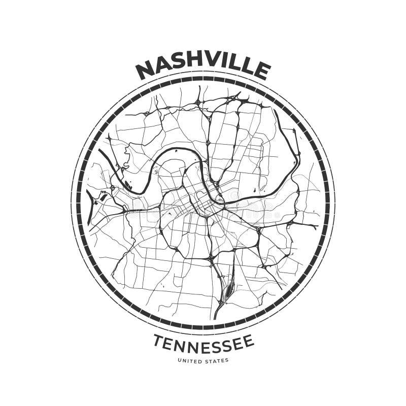 Crachá do mapa do t-shirt de Nashville, Tennessee ilustração royalty free