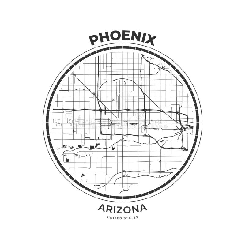 Crachá do mapa do t-shirt de Phoenix, o Arizona ilustração stock