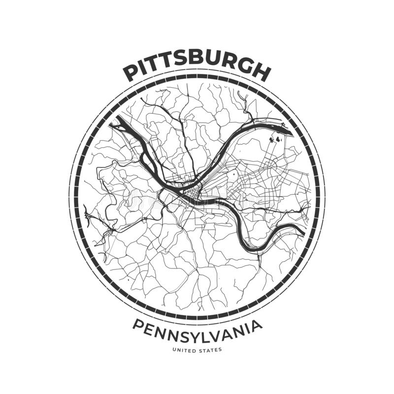 Crachá do mapa do t-shirt de Pittsburgh, Pensilvânia ilustração royalty free