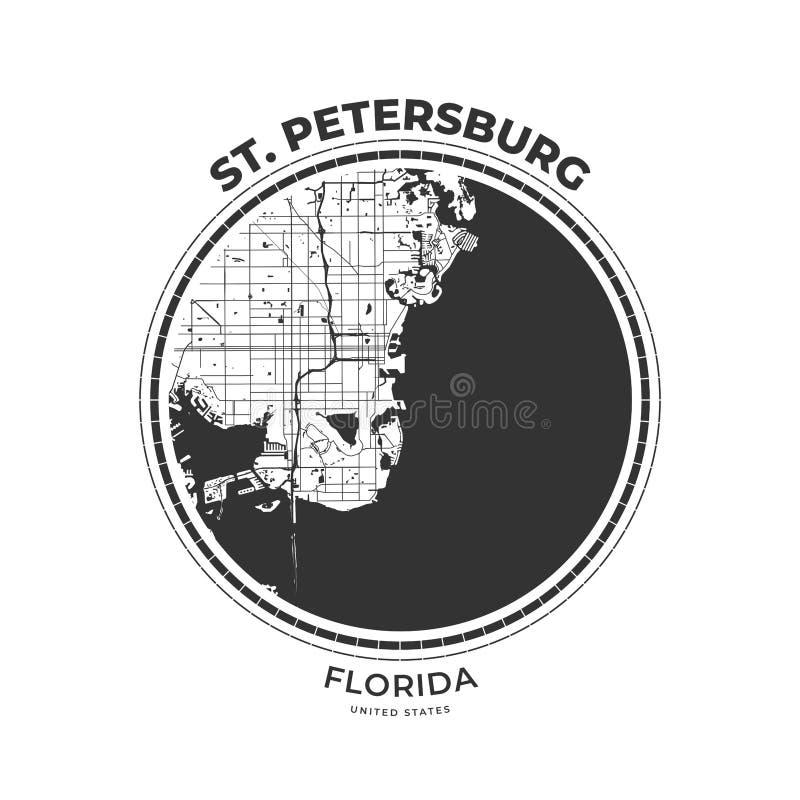 Crachá do mapa do t-shirt de St Petersburg, Florida ilustração stock