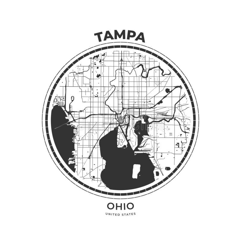 Crachá do mapa do t-shirt de Tampa, Florida ilustração royalty free