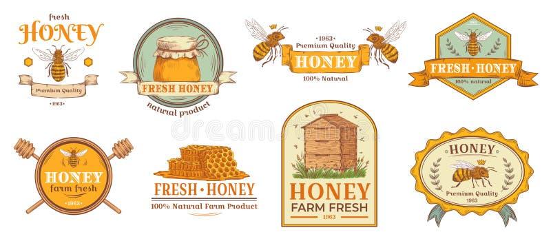 Crachá do mel A etiqueta natural dos produtos agrícolas da abelha, o pólen orgânico da apicultura e as abelhas acumulam a ilustra ilustração do vetor