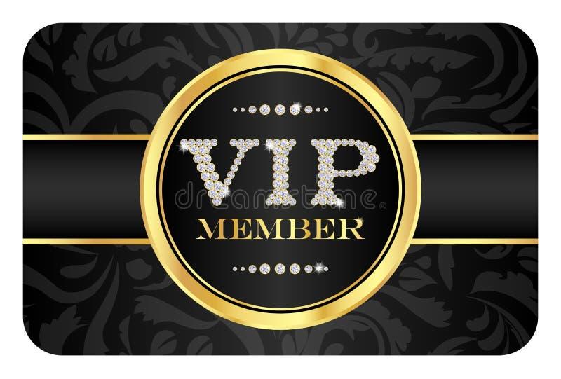 Crachá do membro do VIP no cartão preto com teste padrão floral ilustração stock