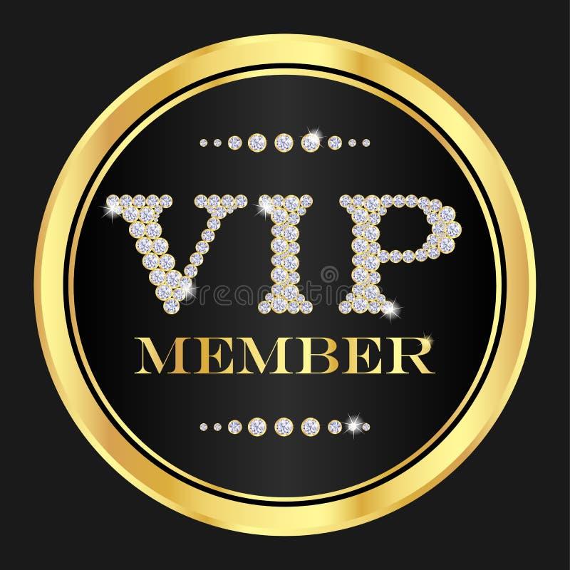 Crachá do membro do VIP VIP composto dos diamantes pequenos ilustração stock