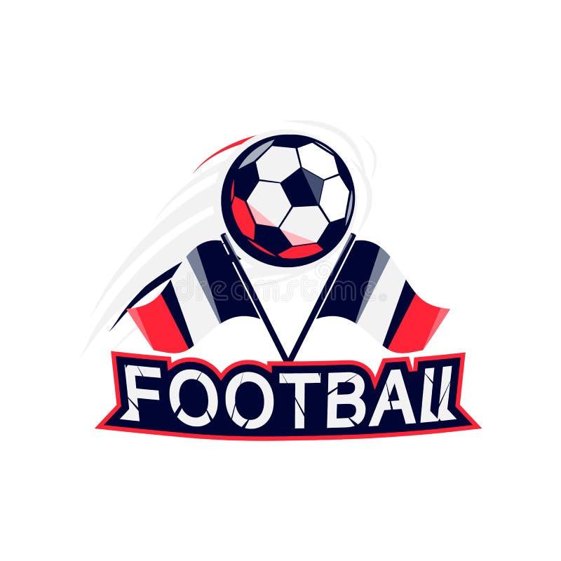 Crachá do projeto moderno com sinal da tipografia do texto do futebol Molde do esporte do futebol para o ícone do campeonato ou d ilustração do vetor