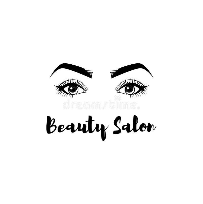 Crachá do salão de beleza Os olhos das mulheres s Pestanas, composição das sobrancelhas Logo Illustration Vetora ilustração do vetor