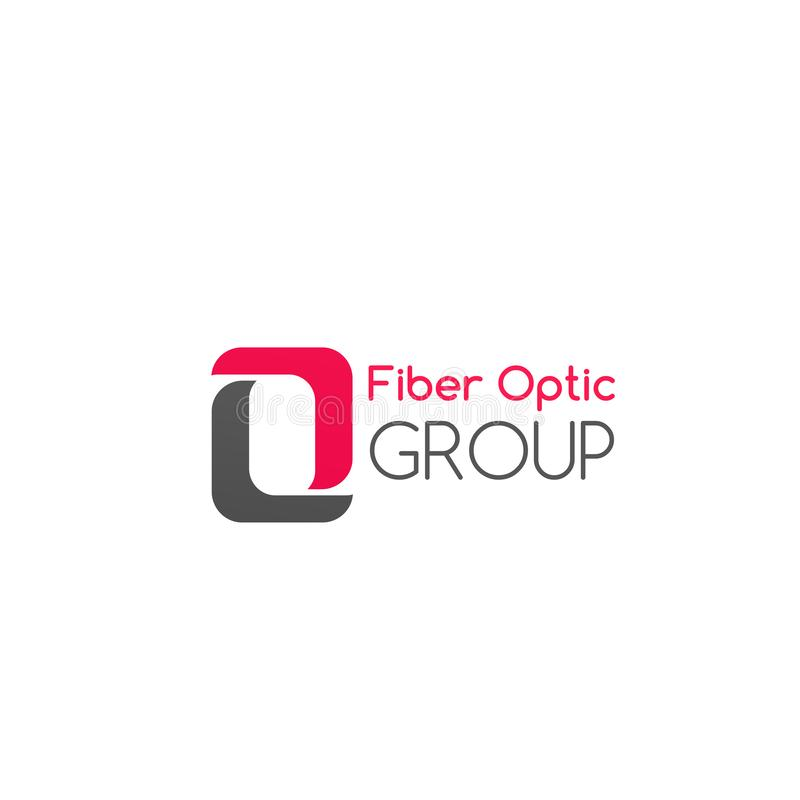 Crachá do vetor do grupo da fibra ótica ilustração do vetor
