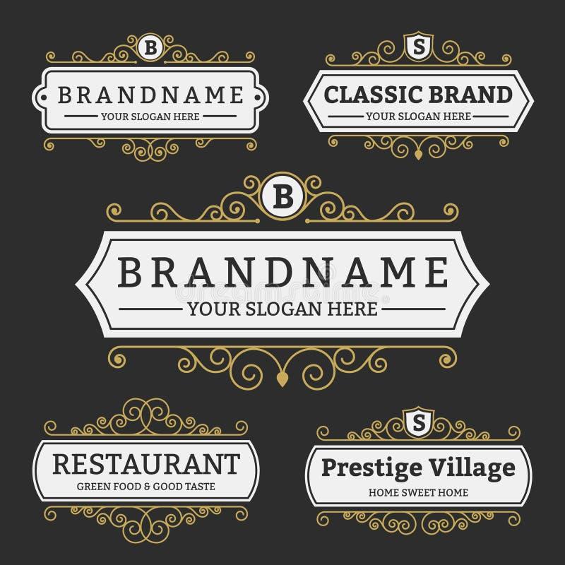 Crachá do vintage e coleção da marca das etiquetas ilustração royalty free