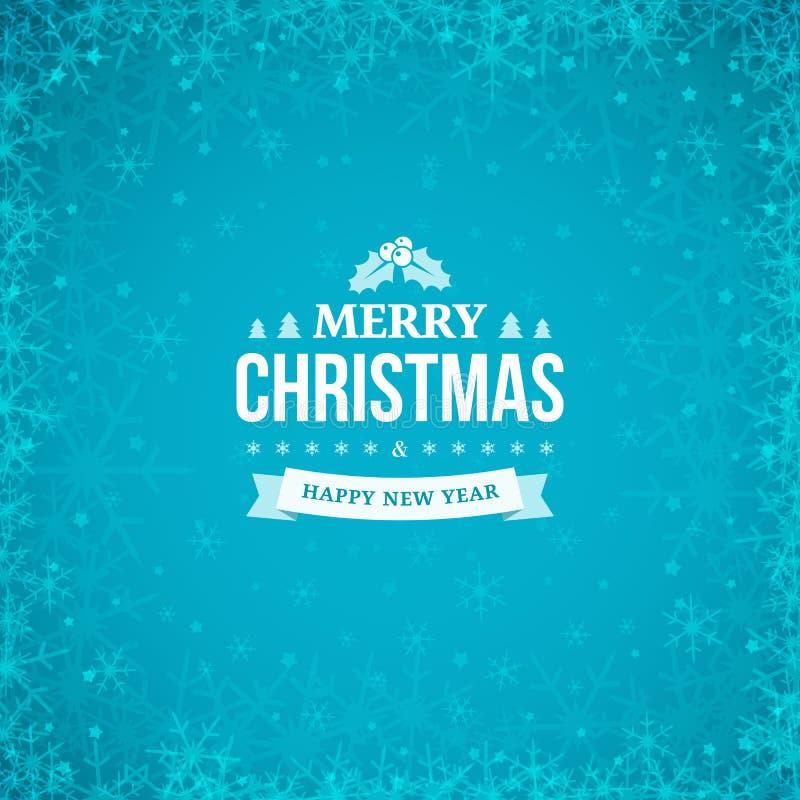 Crachá do vintage do Feliz Natal e do ano novo feliz no fundo azul abstrato do inverno com quadro de flocos de neve dispersados ilustração royalty free