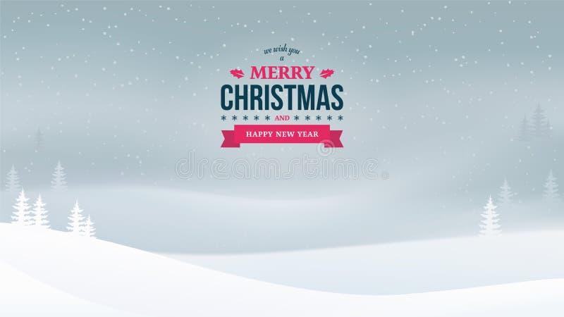 Crachá 2018 do vintage do Feliz Natal e do ano novo no fundo da paisagem da noite do inverno Fundo do feriado com neve de queda ilustração do vetor