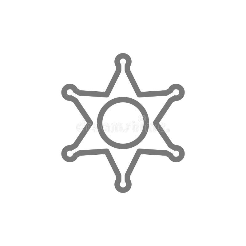 Crachá do xerife, linha ícone da estrela da polícia ilustração royalty free
