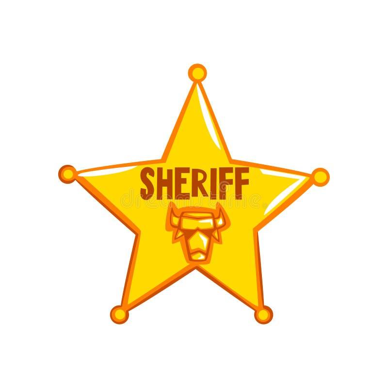 Crachá dourado da estrela do xerife, ilustração americana do vetor do emblema de justiça em um fundo branco ilustração royalty free