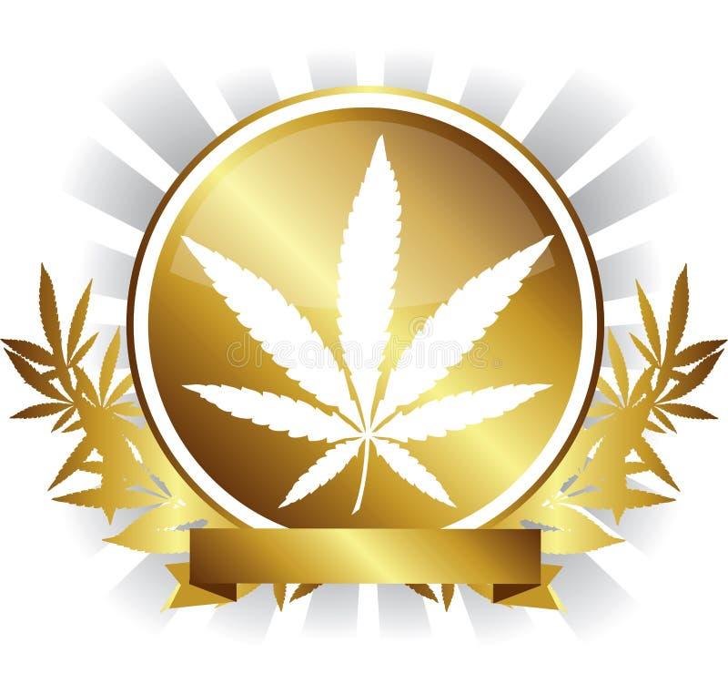 Crachá dourado da folha da marijuana do cannabis ilustração royalty free