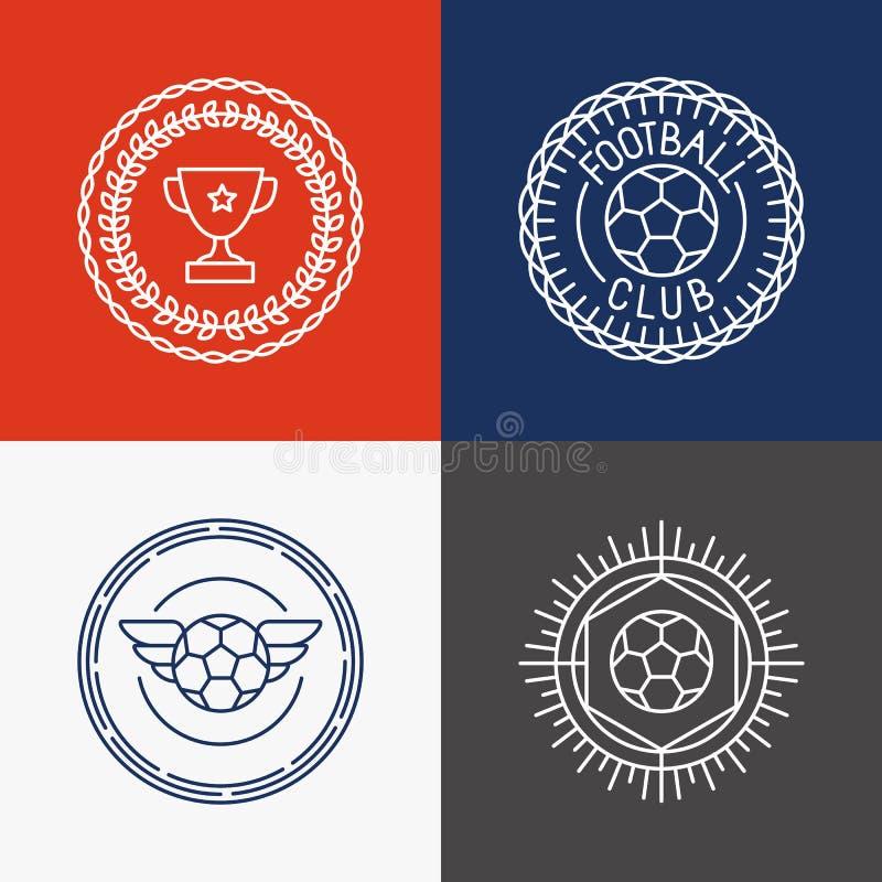 Crachá e emblemas lineares do futebol do vetor ilustração stock