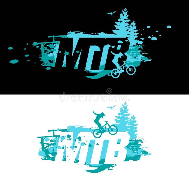 Crachá e etiqueta do logotipo de MTB Dowhill, freeride C?pia do t-shirt Salto na bicicleta ilustração stock