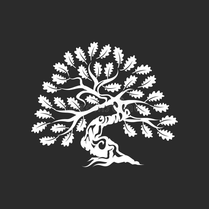 Crachá enorme e sagrado do logotipo da silhueta do carvalho isolado no fundo escuro ilustração royalty free