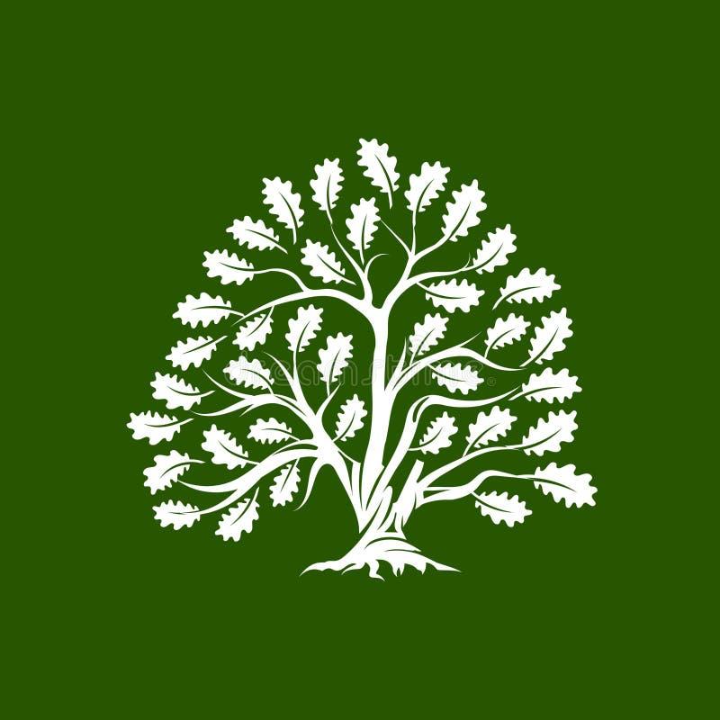 Crachá enorme e sagrado do logotipo da silhueta do carvalho isolado no fundo verde ilustração royalty free