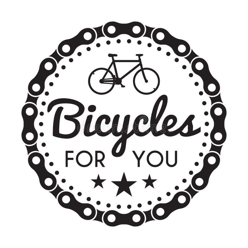 Crachá/etiqueta das bicicletas Bicicleta para você loja feita sob encomenda ilustração royalty free