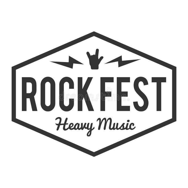 Crachá/etiqueta do fest da rocha com crânio Festival de música incondicional do metal pesado ilustração royalty free