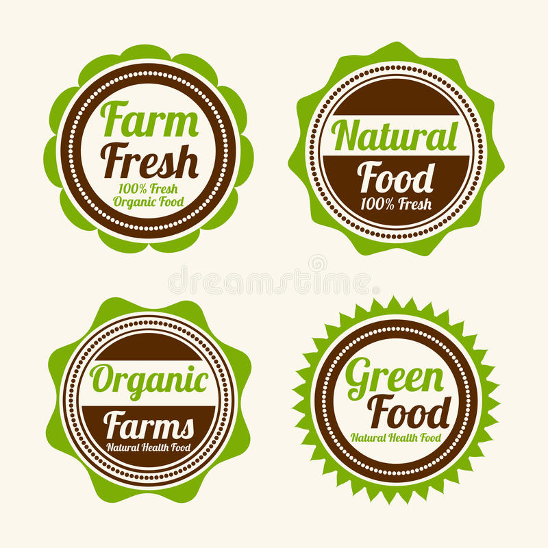 Crachá, etiqueta e etiqueta para a loja de alimento ilustração royalty free