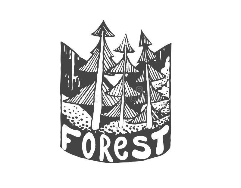 Crachá exterior tirado mão da aventura do vintage Molde do logotipo do vetor ilustração royalty free